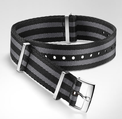 Omega 5-stripe black and grey nylon fabric strap