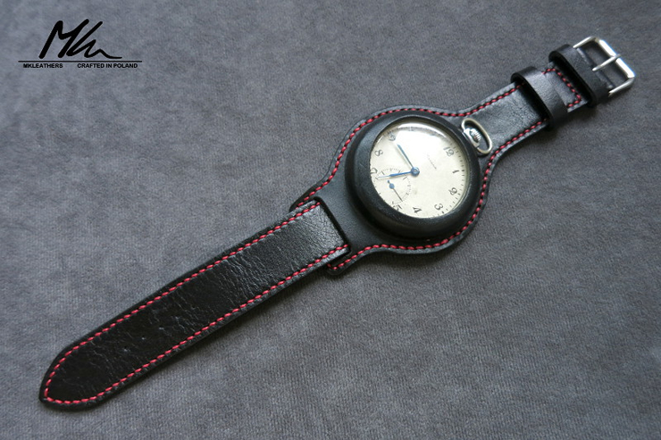 MK Leathers Pocket Watch Strap Black Red Stitching