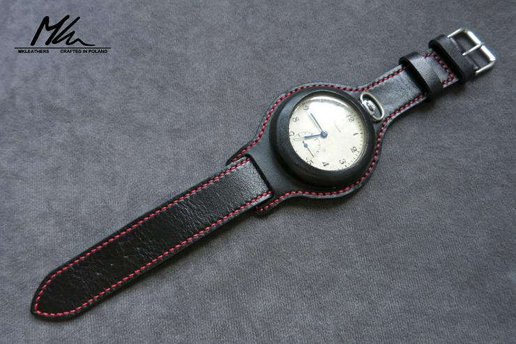 MK Leathers Pocket Watch Strap Black Red Stitching