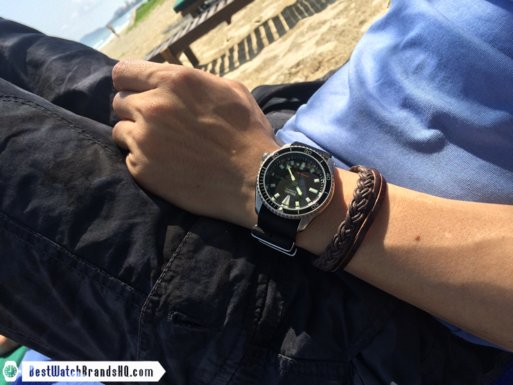 Modded SKX173 Planet Ocean In The Sea Tiny Wrist Shot