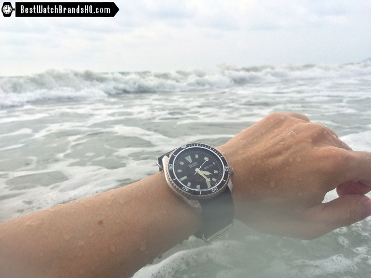 Modded SKX173 Planet Ocean In The Sea Wrist Shot Waves