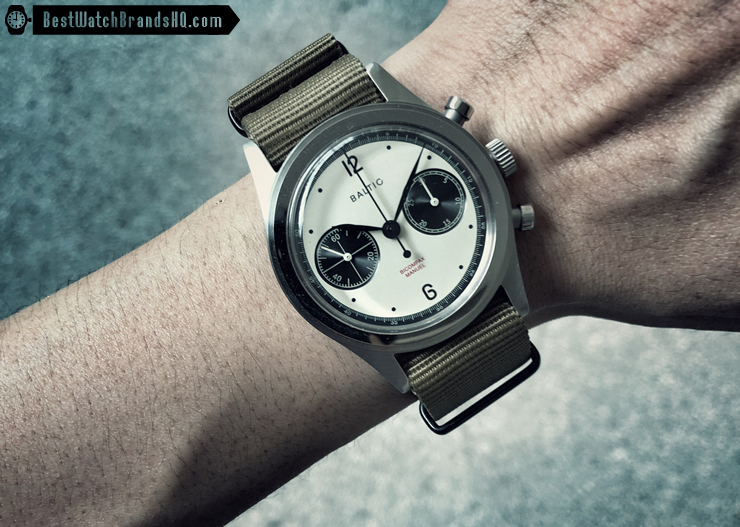 Baltic BICOMPAX Panda Chronograph Review Wrist Shot