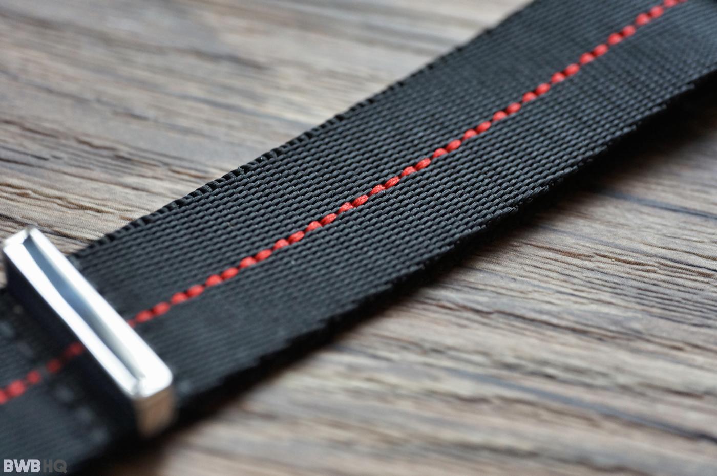 AlphaShark Slim Black:Red Stripe JV NATO Strap - 20mm