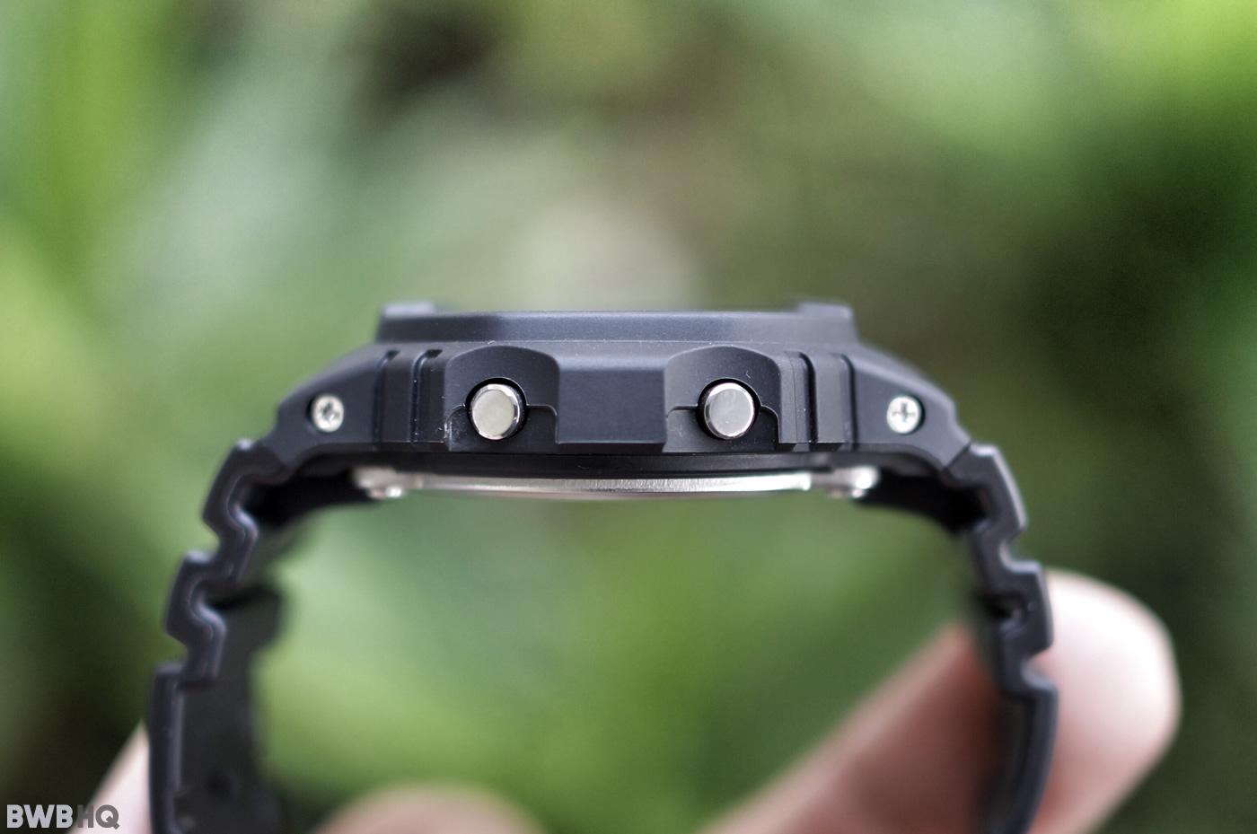 G-Shock DW5600BB All Black Case Side Profile