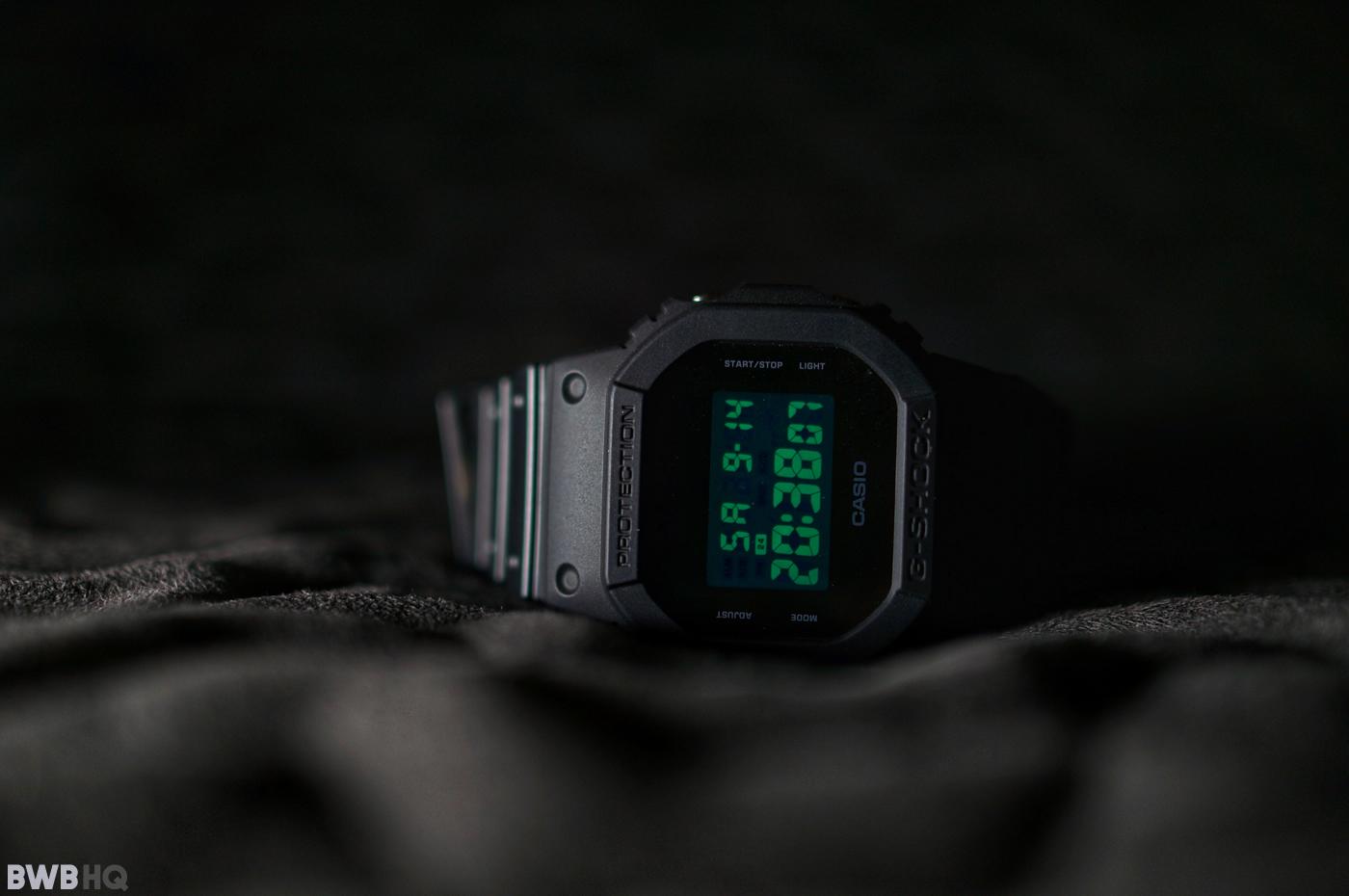 G-Shock DW5600BB All Black EL Green Backlight