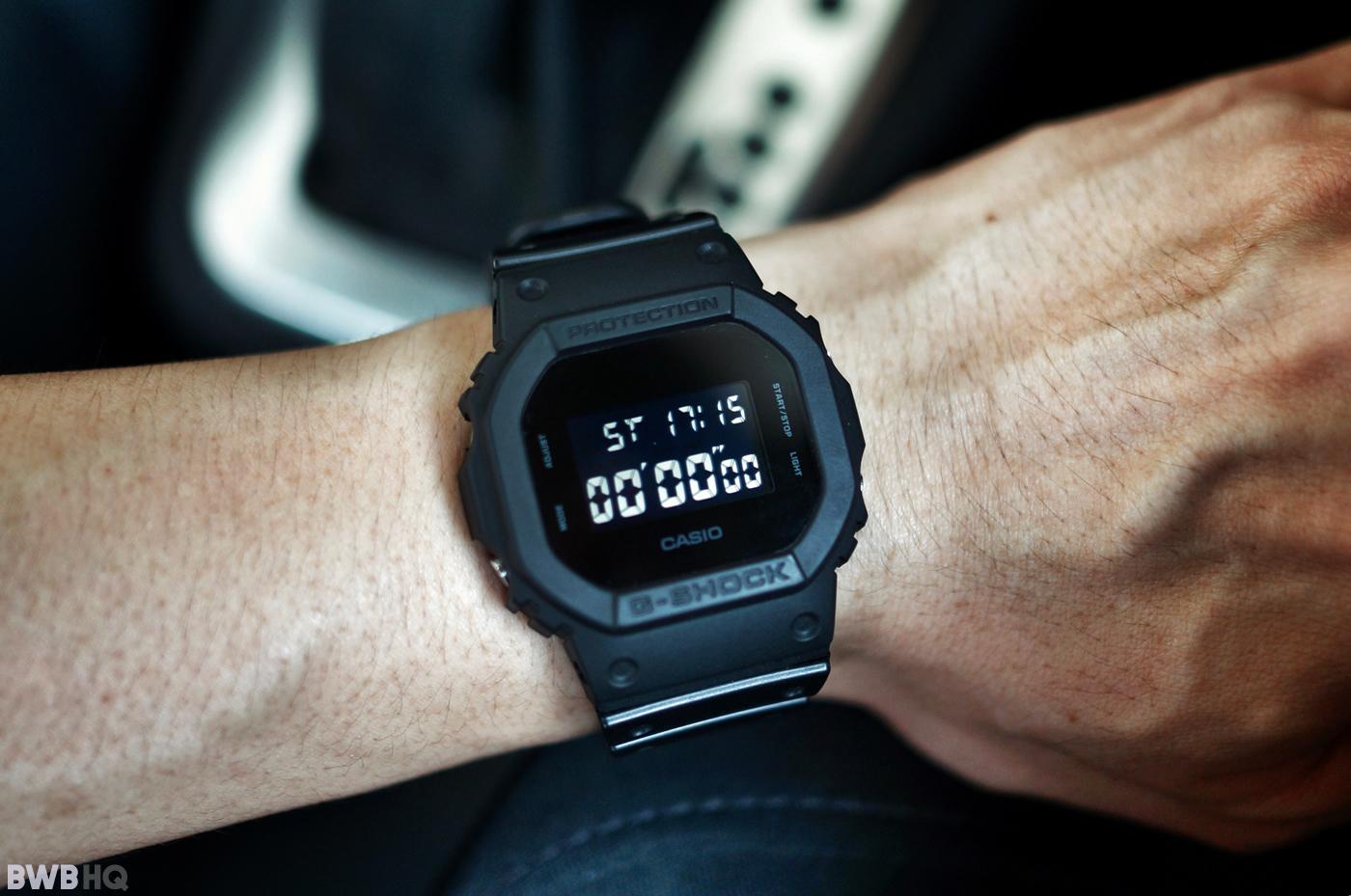 G-Shock DW5600BB All Black Small Wrist Shot