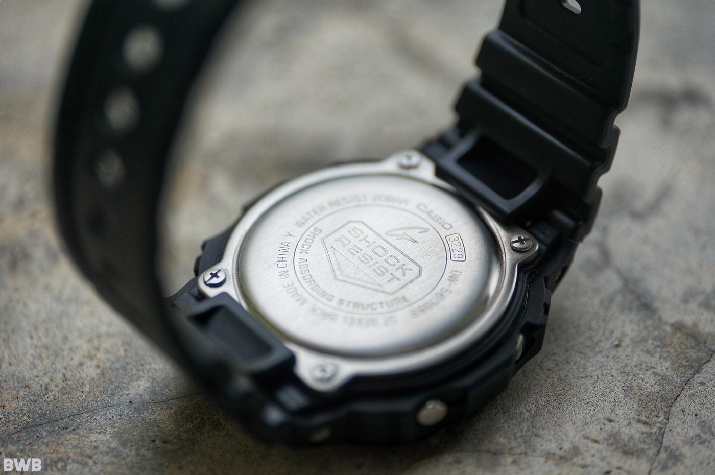 G-Shock DW5600BB All Black Stamped Caseback