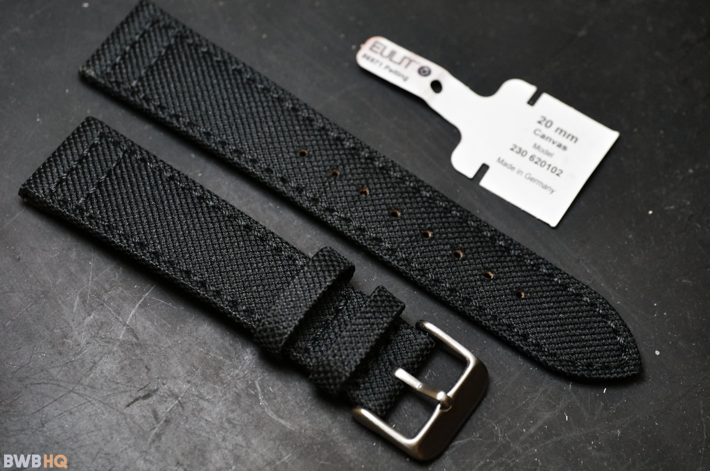 20mm Eulit Black Canvas Strap
